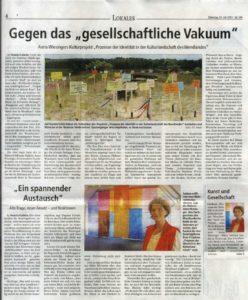 Pressestimme vom 23. 7. 13. Kunstprojekt. PROZESSE DER IDENTITÄT . Anna Wiesinger